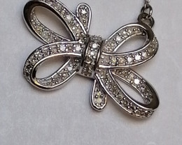 Natural Diamond Bow Knot Necklace 0.34 TCW