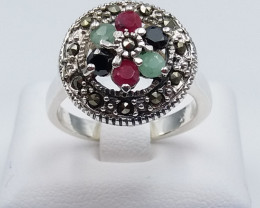 RUBY EMERALD SAPPHIRE MIXED 925 SILVER RING G#1