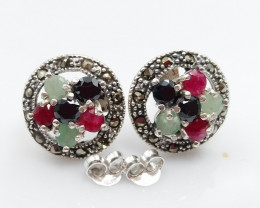 RUBY EMERALD SAPPHIRE MIXED 925 SILVER EARRINGS G#3
