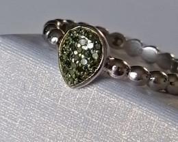 Natural Green Diamond Ring 0.15 TCW