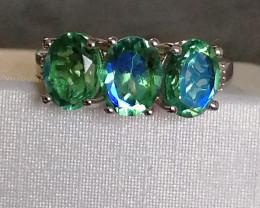Peacock Triplet Quartz and Diamond Ring 4.25 TCW
