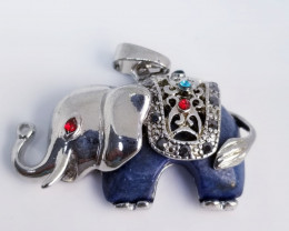 Natural Lapis Lazuli Elephant Stainless Steel Pendant Along With Multi Colo