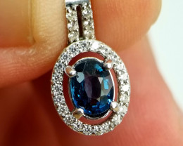 Natural Navy Blue Burma Untreated Spinel Silver Pendant With Cubic Zirconia