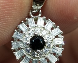 Natural Black Spinel Silver Pendant With Cubic Zirconia