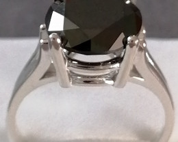 Black Diamond Solitaire Ring 3.79cts.