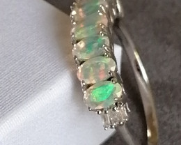 Natural Ethiopian Welo Opal and Diamond Ring 1.00 TCW