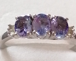 Natural Tanzanite and Diamond Ring 1.00 TCW