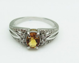 CITRIN NATURAL STONE WITH 925 SILVER RING H#8
