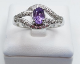 AMETHYST NATURAL STONE WITH 925 SILVER RING H#14