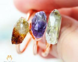 Raw Beautiful Amethyst,Citrine ,Crystal  Copper Ring size 7,8,9- BR 01