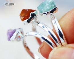 Three Raw Beautiful Gemstone  Rings size 8  BR 05