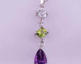 Tourmaline, Peridot & Amethyst Necklace