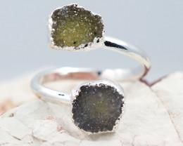 Raw  Druzy Gemstone in electroformed silver Ring BR18