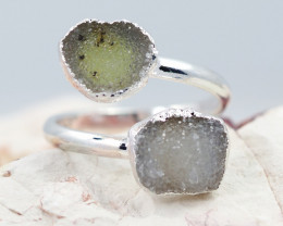 Raw  Druzy Gemstone in electroformed silver Ring BR20