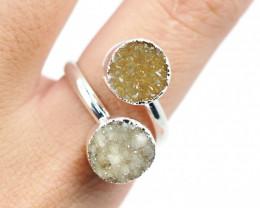 Raw  Druzy Gemstone in electroformed silver Ring BR21