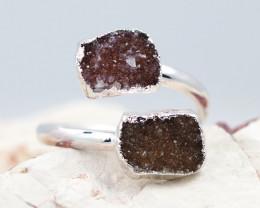 Raw  Druzy Gemstone in electroformed silver Ring BR22