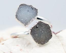 Raw  Druzy Gemstone in electroformed silver Ring BR23
