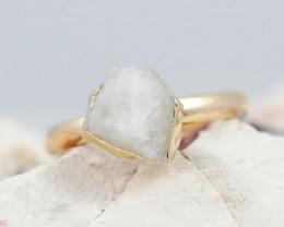 Raw  Crystal Gemstone in electroformed  Ring BR26