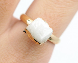 Raw  Crystal  Gemstone in electroformed  Ring BR27