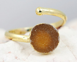 Raw  Druzy  Gemstone in electroformed gold Plated Ring BR30