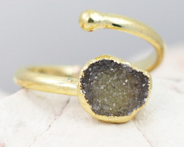 Raw  Druzy  Gemstone in electroformed gold Plated Ring BR33