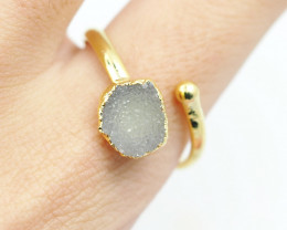 Raw  Druzy  Gemstone in electroformed gold Plated Ring BR34