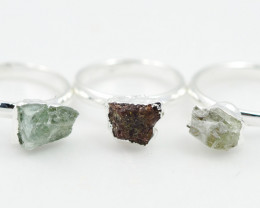 Three Raw   Gemstone in electroformed SilverPlated Ring BR35