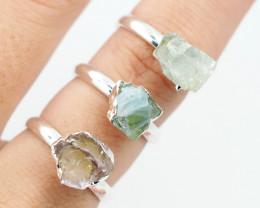 Three Raw   Gemstone in electroformed SilverPlated Ring BR37