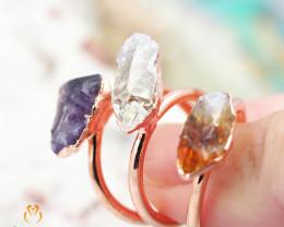 3 Raw Beautiful  terminated Gemstone Copper Ring BR 39