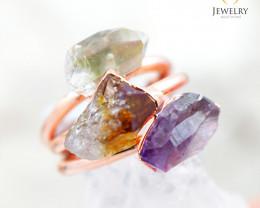 3 Raw Beautiful  terminated Gemstone Copper Ring BR 42