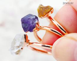 3 Raw Beautiful  terminated Gemstone Copper Ring BR 43