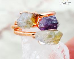 3 Raw Beautiful  terminated Gemstone Copper Ring BR 44