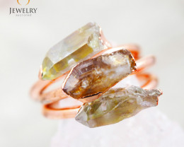 3 Raw Beautiful  terminated Gemstone Copper Ring BR 46