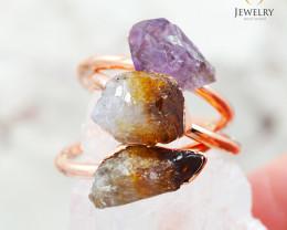 3 Raw Beautiful  terminated Gemstone Copper Ring BR 50