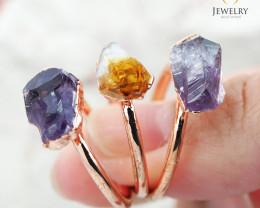 3 Raw Beautiful  terminated Gemstone Copper Ring BR 51
