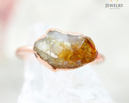Citrine Raw Beautiful terminated Gemstone Copper Ring BR 53