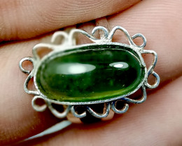 Natural Nephrite Jade Ring With 925 Silver
