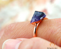 Amethyst Raw Beautiful terminated Gemstone Copper Ring BR 55