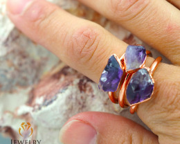 Three Amethyst Raw Beautiful terminated Gemstone Copper Ring BR 57