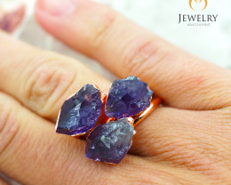 Three Amethyst Raw Beautiful terminated Gemstone Copper Ring BR 58