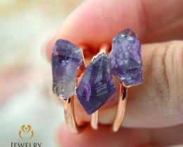Three Amethyst Raw Beautiful terminated Gemstone Copper Ring BR 59