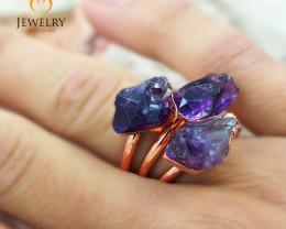 Three Amethyst Raw Beautiful terminated Gemstone Copper Ring BR 60