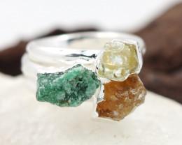 Three Raw   Gemstone in electroformed SilverPlated Ring BR62