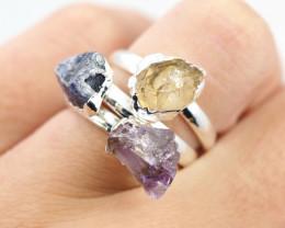 Three Raw   Gemstone in electroformed SilverPlated Ring BR63