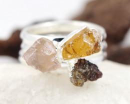 Three Raw   Gemstone in electroformed SilverPlated Ring BR67