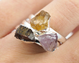 Three Raw   Gemstone in electroformed SilverPlated Ring BR68