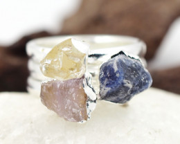 Three Raw   Gemstone in electroformed SilverPlated Ring BR69
