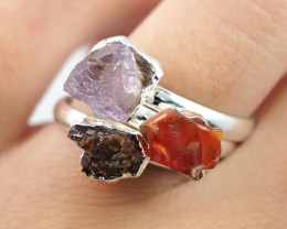 Three Raw   Gemstone in electroformed SilverPlated Ring BR70