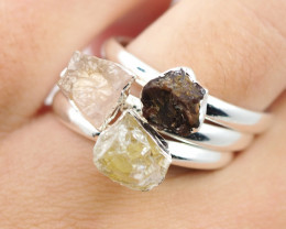 Three Raw   Gemstone in electroformed SilverPlated Ring BR71