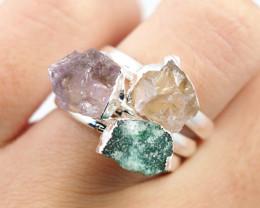 Three Raw   Gemstone in electroformed SilverPlated Ring BR72